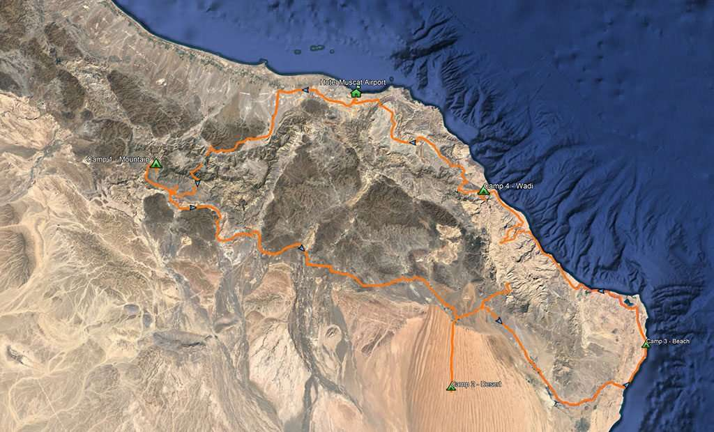 map 6 day oman expedition iDrive 4x4