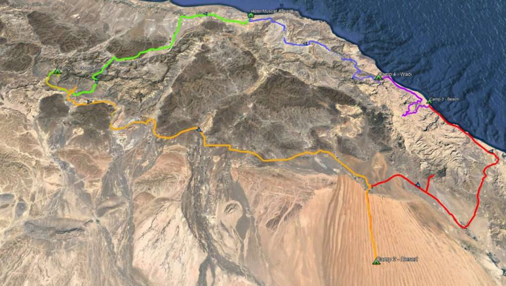 map 6 days oman 4x4 discovery