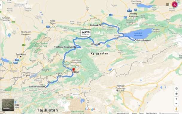 Map 9 day kyrgyzstan 4x4 self drive expedition