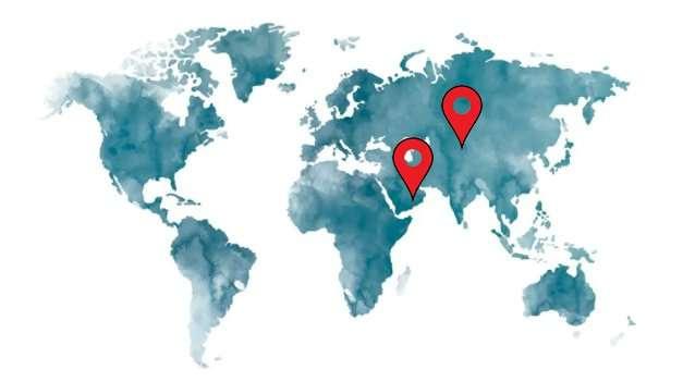 Wereldkaart met locaties